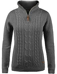 f01ef3b2c5a6 DESIRES Carry Damen Winter Strickpullover Troyer Grobstrick Pullover mit  Stehkragen