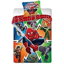 Spiderman - Juego de cama (funda nórdica de 160 x 200 cm y funda de almohada de 70 x 80 cm), diseño de Spiderman