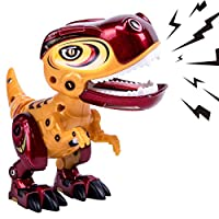 GILOBABY Kids Dinosaur Toys for Girls Boys, Toys Age 3 4 Year Old Up, Iron Dinosaurs Robot- Alloy with plastic, Children Mini Dino Toys, Flexible Body, Sound& Lights, Included Batteries& Screwdriver