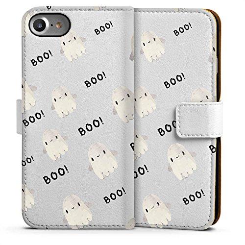Apple iPhone 7 Silikon Hülle Case Schutzhülle Geist Ghost Boo Sideflip Tasche weiß