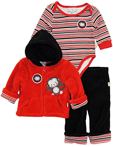 duck-goose-baby-boys-wild-little-monkey-sherpa-jacket-bodysuit-3pc-pant-set-red-6-9-months