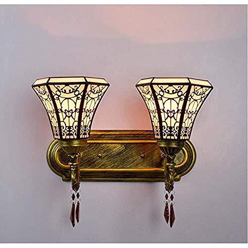 Light-XGM Wandleuchte Tiffany Stil Minimalismus Retro Glas Badezimmer Wandleuchte Spiegel Scheinwerfer Hotelzimmer Nachtlicht Nachtlampe -