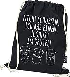 Hashtagstuff Turnbeutel mit Sprüchen Designs auswählbar Kordel Schwarz Spruch Rucksack Jutebeutel Sportbeutel Gymbag Beutel Hipster Joghurt
