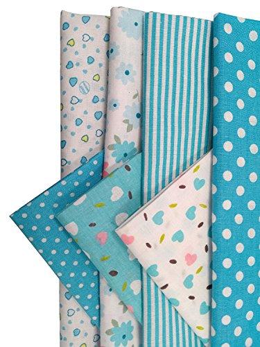 Gnognauq scampoli tessuto patchwork stoffe in cotone tessuto stoffe scompato floreale per cucito materiale fai da te per attività creativa (blu)