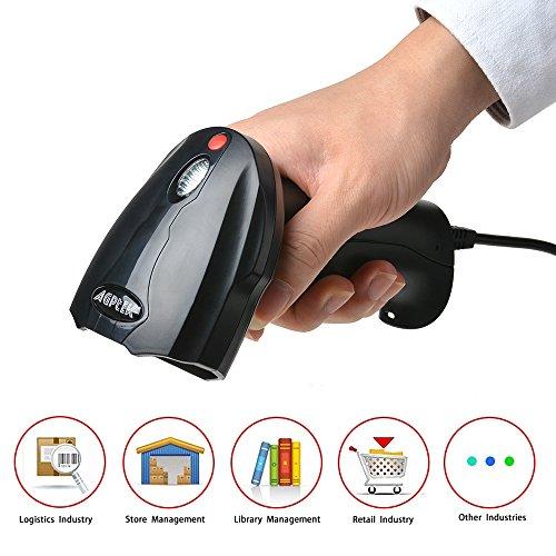 2D / 1D Barcode Scanner, AGPtek Laser Barcodescanner Hand USB Wired QR-Barcode Scanner Imager Handheld mit USB-Kabel USB-Anschluss Lesen von Barcodes für PC Mac