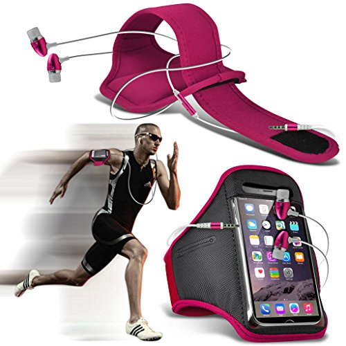 Fone-Case (Hot Pink)Huawei P10 Einstellbare Sport-Armband Fall-Abdeckung für Laufen Jogging Radfahren Gym With Premium Quality in Ear Buds Stereo Hands Free Headphones Headset with Built in Microphone Mic and On-Off Button