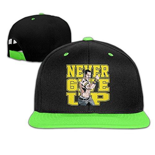 Hittings Unisex Kids John Cena Logo Never Give Up Hit Color Hip-Hop Baseball Caps Hats KellyGreen par  Hittings
