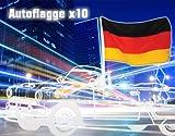 Autoflagge Deutschland 10 er Set Deutschlandflagge EM Fanpaket