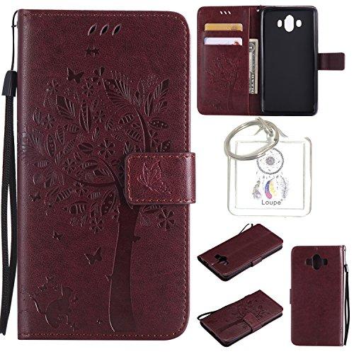 für Huawei Mate 10 Hülle,Geprägte Muster Handy hülle / Case PU Flip Leder Hülle Kunstleder Folio Schutzhülle Wallet Tasche Etui Standfunktion Kredit Kartenfächer+Schlüsselanhänger (T) (2)