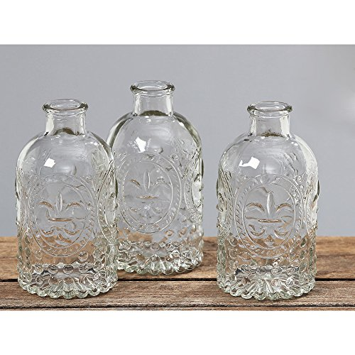 3 Stück, vintage-Stil, gehämmert, Glas klar Blume Vasen/Tischdekoration (Vintage Glas Vase)