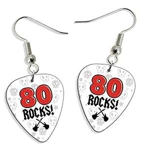 80 Rocks Age Birthday 2 X Logo Chitarra Pick Earrings orecchini (GD)
