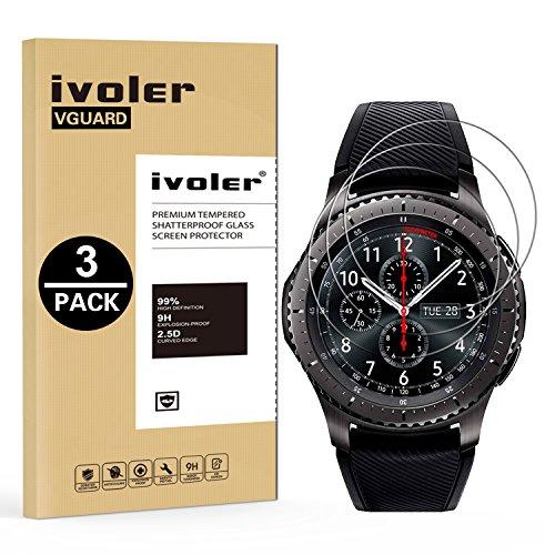 iVoler [3 Pack] Vetro Temperato per Samsung Galaxy Watch 46mm / Samsung Gear S3 Frontier / S3 Classic [Garanzia a Vita], Pellicola Protettiva, Protezione per Schermo