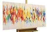 KunstLoft® Acryl Gemälde 'Weekend Happiness' 120x60cm | original handgemalte Leinwand Bilder XXL | Deko Abstrakt Bunt Tupfer Muster | Wandbild Acrylbild moderne Kunst einteilig mit Rahmen