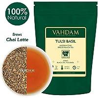 VAHDAM, Tulsi Albahaca condimento Chai Té (50 Copas) | Té de albahaca santa | Tulsi Tea Con 100% ESPECIAS NATURALES | Hojas de té Chai con especias | Preparar té caliente, té helado o Chai Latte | Té de hojas sueltas | 100gr