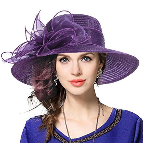 VECRY Damen Oaks Derby Kirche Taufe Kleid Tea Party Hochzeit Sonnenhüte (Lila) (Sommer Kleid Hüte Für Frauen)