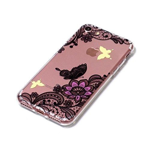 iPhone 7 Hülle, Voguecase Silikon Schutzhülle / Case / Cover / Hülle / TPU Gel Skin für Apple iPhone 7/iPhone 8 4.7(Rotary/Liebebär 01) + Gratis Universal Eingabestift Lace Blume/Schmetterling