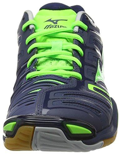 MizunoWave Stealth 4 - Scarpe Sportive Indoor uomo Blu (Dressblues/Greengecko/Silver)
