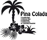 GRAZDesign 620299_30_070 Wandtattoo Rezept Cocktail Pina Colada für Küchen-Wand | Küchen-Sprüche für Küchenrückwand | Wandsticker aus Markenfolie - auch für Esszimmer (35x30cm//070 schwarz)
