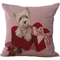 Chezmax misto lino lovely Puppy modello cuscino federa copricuscino in cotone 45,7x 45,7cm, Pink 1, WITH FILLER