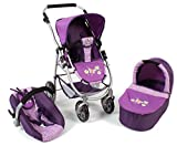 Bayer Chic 2000 637 28 - Kombi-Puppenwagen Emotion 3-in-1 All In Checker, Purple
