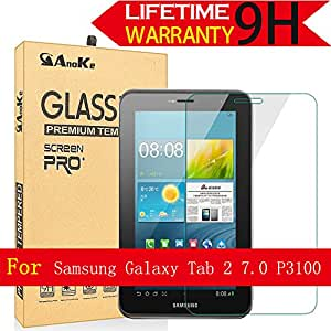 AnoKe Samsung Galaxy Tab 2 7.0 7 P3100 Tempered Glass Screen Protectors 9h Hardness 0.3mm Thickness For P3100