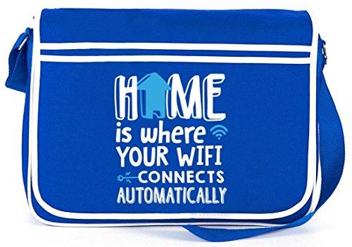 Shirtstreet24, Home Wifi, Retro Messenger Bag Kuriertasche Umhängetasche Royal Blau