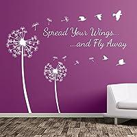 Diente de león floral spread Your Wings y pájaros Vinilo Pared Pegatinas decoración flor A363, vinilo, Blanco, Large-Set