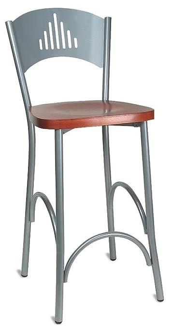 Sgabello da bar sedia alta con seduta in legno ciliegio per cucina ...