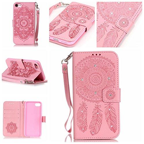 iPhone 7 Hülle, Anlike iPhone 7 (4,7 Zoll) Schutzhülle Handy Zubehör Lederhülle {Geprägte Serie} Handyhülle für iPhone 7 (4,7 Zoll) - Rosa Campanula