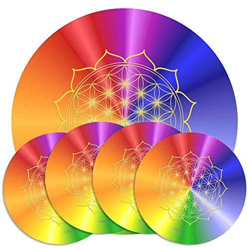 atalantes spirit HerzBlume des Lebens Untersetzer Set 1 + 4 Stück für Karaffen & Gläser, rainbow, Größe 19 + 9,5cm Herzchakra