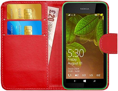 G-Shield Hülle für Nokia Lumia 530 Klapphülle mit Kartenfach - Rot