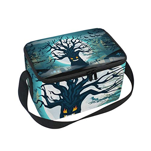 ALINLO Halloween Dead Tree Bat Moon Lunch Bag, Zipper Insulated Cooler Tote Bag, Lunchbox Meal Prep Handbag for Picnic School Women Men Kids