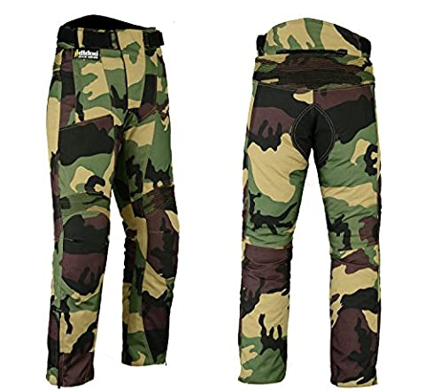Hilbro New Mens Camo Motorbike Motorcycle Pants Armoured Waterproof Textile Trousers 36