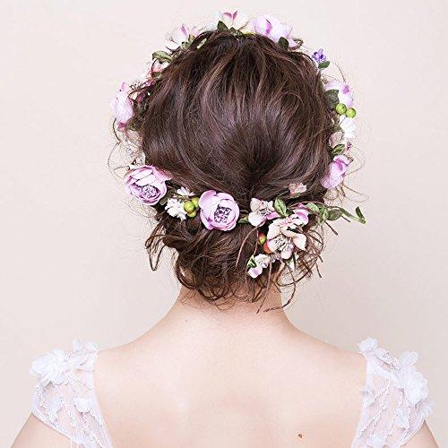 OKBO Frauen/Mädchen Seide Garn blumen Krone Haarschmuck BlumenKranz Haare Stirnband Garland Blumenstirnband Erwachsene oder Kinder(Lila) (Mädchen Lila Blüten)