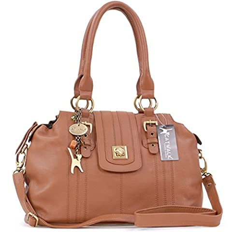 Catwalk Collection Leather Twist Lock Shoulder Bag - Kate - Tan