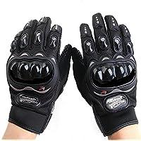 Gants de Moto Plein-Doigt Respirable pour Scooter la Course de Moto, VTT Vélo Motocross, Protection des Autres Sports de Plein Air, avec Écran Tactile pour Téléphone & GPS, M Taille, Noir.