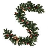 Enjoygoeu Weihnachtsgirlande Tannengirlande Künstliche Tannen Girlande Weihnachtsdeko Grün Dekoriert mit Zapfen Beeren Schleifen Weihnachten Dekoration für Kamine Treppen Wand Tür