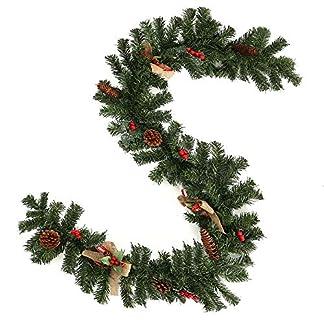 Enjoygoeu-Weihnachtsgirlande-Tannengirlande-Knstliche-Tannen-Girlande-Weihnachtsdeko-Grn-Dekoriert-mit-Zapfen-Beeren-Schleifen-Weihnachten-Dekoration-fr-Kamine-Treppen-Wand-Tr