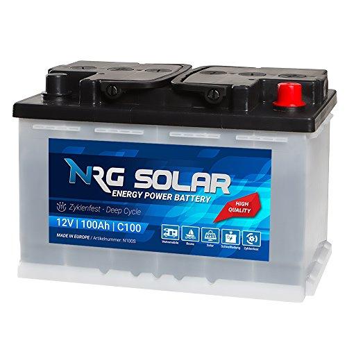 NRG SOLAR 12V 100Ah Solarbatterie Boot Versorgungsbatterie Verbraucher Batterie