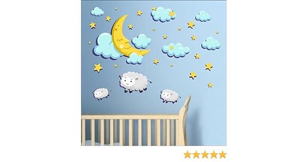 nuages star Lune mouton autocollants muraux mural Nursery Stickers muraux pour enfant Multicolore Art 215