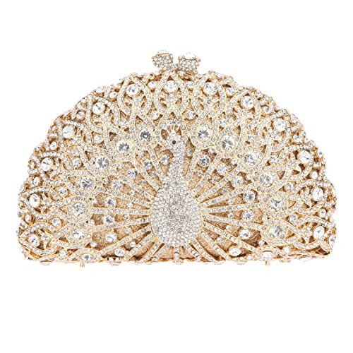 Bonjanvye Glitter Crystal Peacock Clutch for Girls Peacock Clutch Evening Bag AB Gold gold