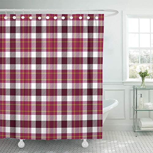 LongTrade Bad Duschvorhang Shower Curtain Abstract Symmetry Pink Purple Red Tartan Pattern Cell Checkered Waterproof Polyester Fabric Set with Hooks 48