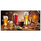 Glasuhr von DekoGlas 60x30cm waagerecht Bilderuhr aus Acrylglas mit lautlosem Quarzuhrwerk Dekouhr Glaswanduhr Uhr aus PMMA Wanduhren Küchenuhr Wanddekoration Glasbilder Bier Mehrfarbig