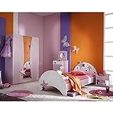 Kinderzimmer Sternchen 4-teilig lila weiß Bett Nachtkommode Kleiderschrank Kinderbett Nako Nachtschrank Schrank Mädchen Jugendzimmer