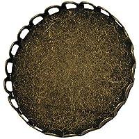Pandahall 5 x 25mm Basi Spilla Cabochon Vetro Piatto Rotondo in Ottone Colore Bronzo Antico, Spilla Schiena con Aghi di Sicurezza, 26mm di Diametro, 9mm di