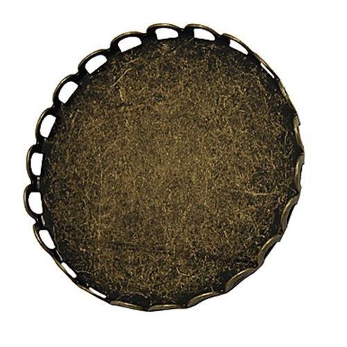Pandahall 5 x 25mm Basi Spilla Cabochon Vetro Piatto Rotondo in Ottone Colore Bronzo Antico, Spilla Schiena con Aghi di Sicurezza, 26mm di Diametro, 9mm di Spessore