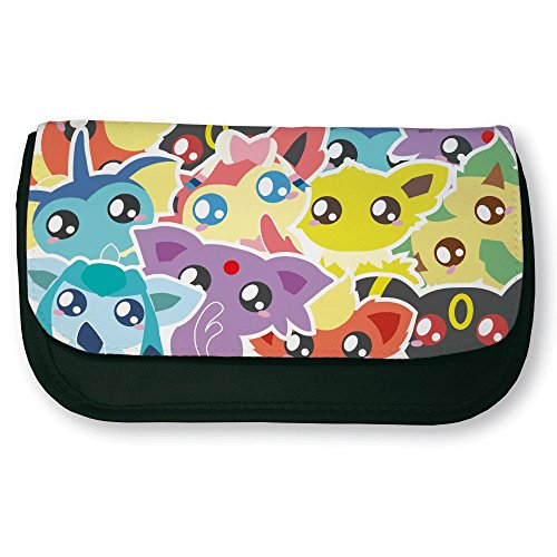 Trousse noir de maquillage ou d'école Pokemon Evolution Evoli (Eeveelution) chibi et kawaii by Fluffy chamalow - Fabriqué en France - Chamalow shop