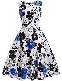FAIRY COUPLE 50s Vestido de Partido Floral Retro del Oscilación del Cóctel del Vintage con el
