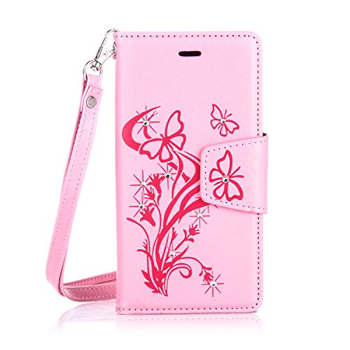 Apple Touch 6 Case,Apple Touch 6 Leather Case,Apple Touch 6 Cover,Flip Wallet case for Apple Touch 6,Cool 3D Pink Bling Diamond Butterfly Flying Patterned PU Leather Stand Function Protective Cases Covers with Card Slot Holder Wallet Book Design Fordable Magnet Closure Case for Apple Touch 6