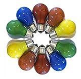 LEDmaxx 10er Set Glühlampen farbig gemischt 15 Watt Rot, Gelb, Grün, Blau, Orange, Glas, E27, W, weiß, 10.3 x 6 x 6 cm
